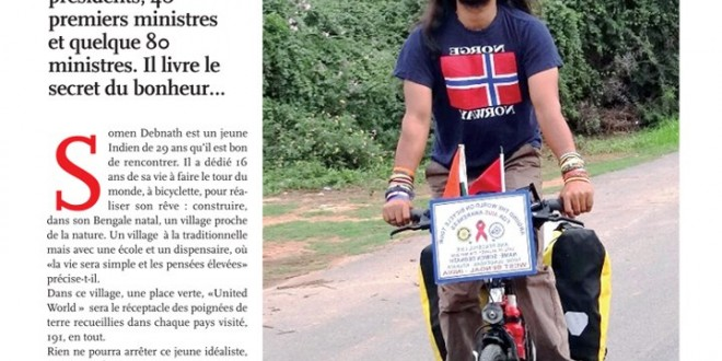 "Article in Maroccan newspaper: ""An Indian, bicycle and happiness"", 8 nov 2012"