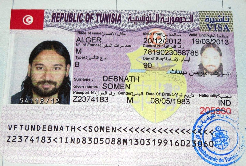 Tunisian Visa From Algiers Algeria 20 December 2012