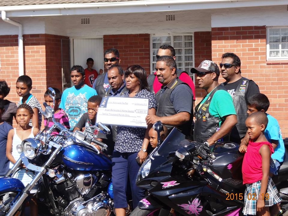 Motorbike team donating some support to Orphanage