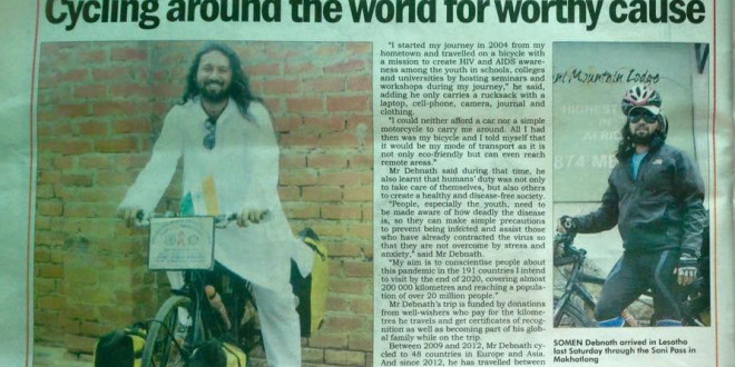 'Cycling around the world for a worthy cause', article in Sunday Express, Maseru, Lesotho, by Mohalenyane Praketa, 15 March 2015