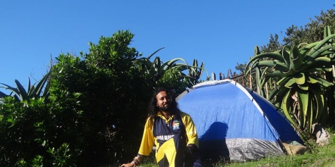 Wonderful night stay in my tent at Suger Shack backpackers, East London, Eastern Cape, South Africa – 1 April 2015