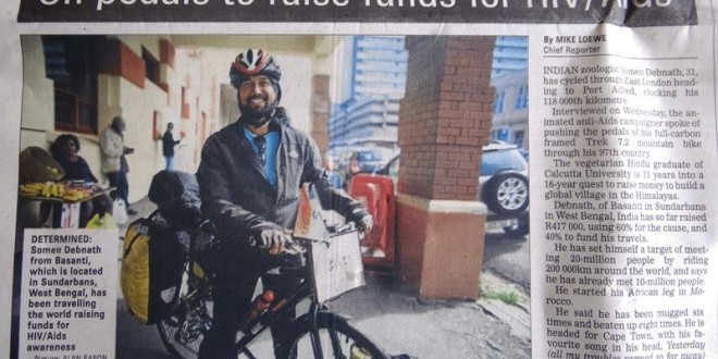 Daily Dispatch Newspaper in Eastern Cape of South Africa, 3 April 2015: 'On pedals to raise funds about HIV/AIDS' by Mike Loewe